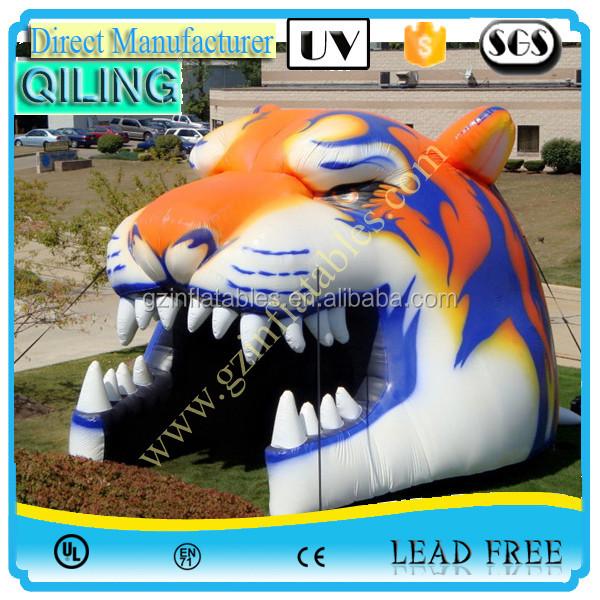Popular customized gaint entrance inflatable tiger head football tunnel