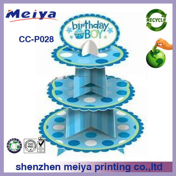 3 tier blue cardboard birthday cake stand,disposable cupcake stand display