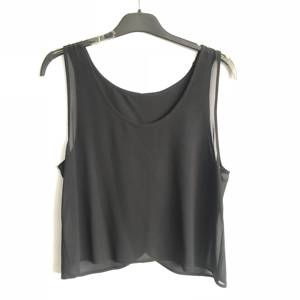 New Designed Women's Silky Chiffon Low Neck Top Vest Sleeveless Panel Tank Tops Cami Blouse With Wrap Back Design