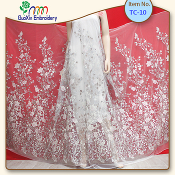2018 new machine embroidery designs/wedding embroidery lace fabric