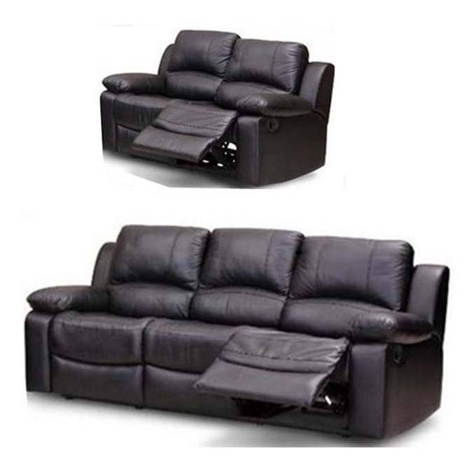3 Seater Black Leather Recliner Sofa In