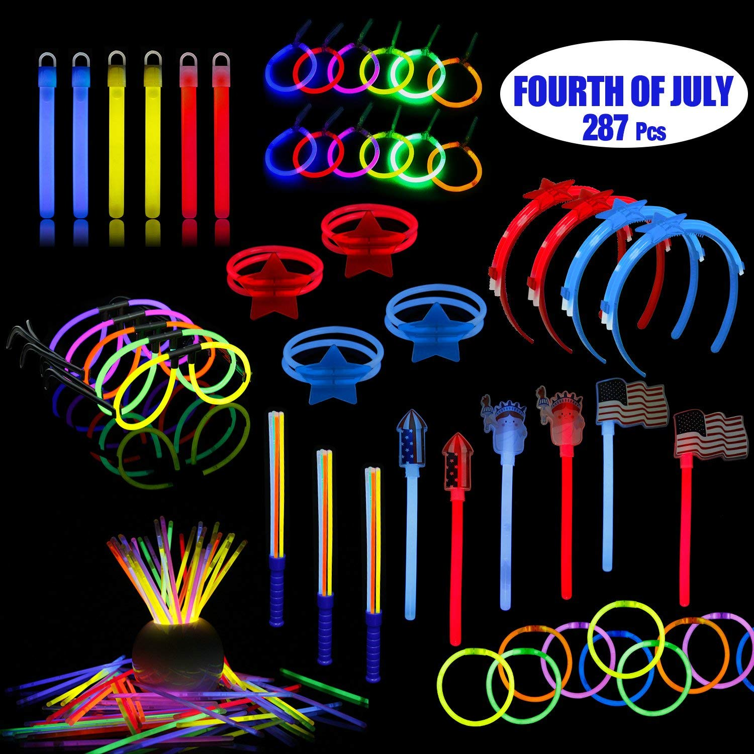 LaRibbons 4th of July Patriotic Party Supplies, 278 Pack Glow Sticks in Bulk for Memorial Day, Veteran's Day, Assortment Include American Flag, Bracelets, Necklace, Glasses, Magic Wands and More