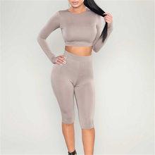 Осенняя одежда из двух предметов для женщин, укороченный топ с длинными рукавами, блузка + укороченные штаны, комплект из 2 предметов, сексуа...(Китай)