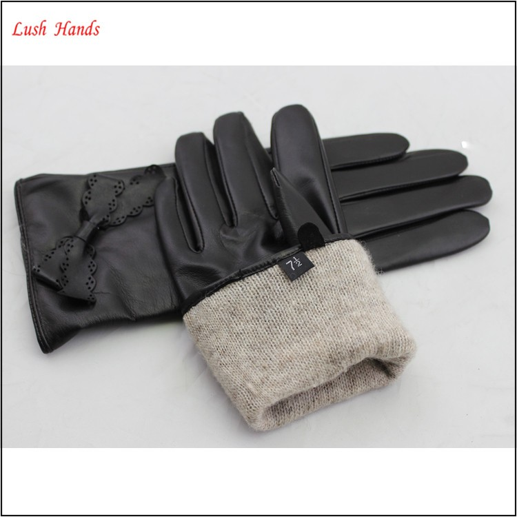 The best quality ladies and girls leather gloves with leather bow