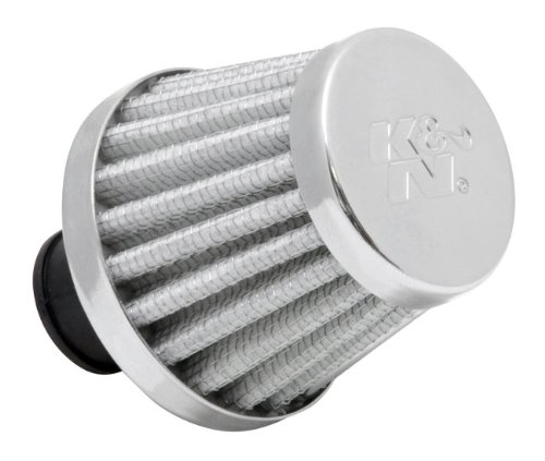 K&N 62-1600WT Vent Air Filter / Breather: Vent Air Filter/ Breather; 0.375 in/0.5 in (10 mm/13 mm) Flange ID; 1.75 in (44 mm) Height; 2 in (51 mm) Base; 1.5 in (38 mm) Top