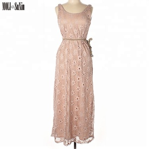 MOLI China Factory Floor Length Pink Gown Lace Elegant Evening Dresses
