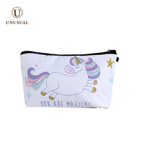 Custom printed cartoon beauty kit unicore sublimation cosmetic bag