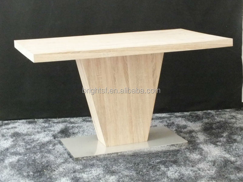 MDF sonoma oak finish and stainless steel bottom dinning table BR-014-2B