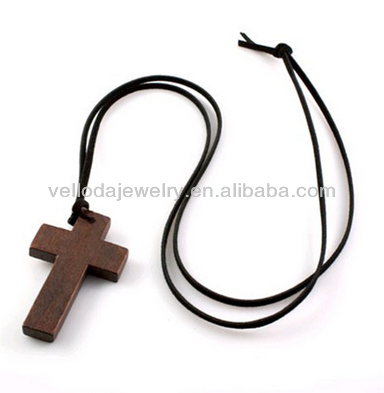 Natural Materials Organic Wood Cross Pendant, Wooden Necklace, Wood Tags