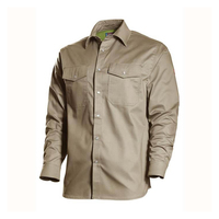 NFPA 2112 Khaki Cotton Twill Pearl Snaps FR Welding Shirts Wholesale