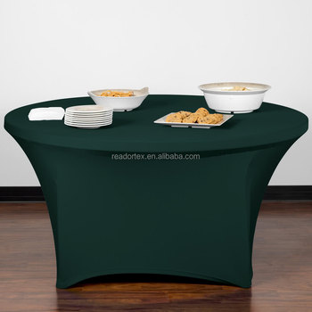 HUNTER GREEN Contour Cover 60u0026quot; Round Spandex Table Cover