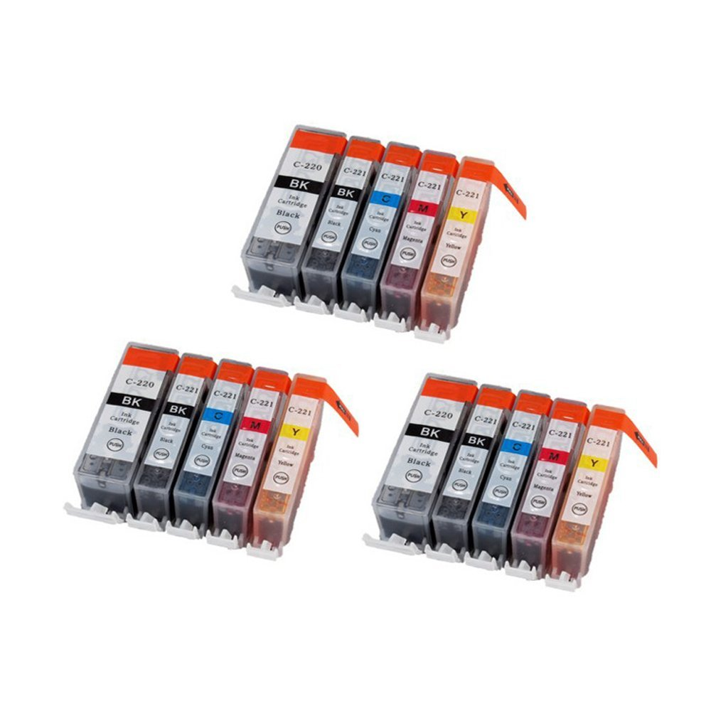 Generic Inkcool 15-Pack (3 each) Ink w/ Chip for Compatible pgi-220BK CLI-221 Canon Pixma Canon iP3600 iP4600 MP560 MP620 MX860 MP980(3LB/3SB/3C/3Y/3M)