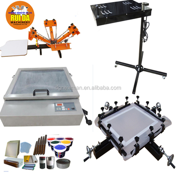 c0999eb3 Cheap hand manual 4 color 1 station carousel silk screen printing machine  full set DIY T