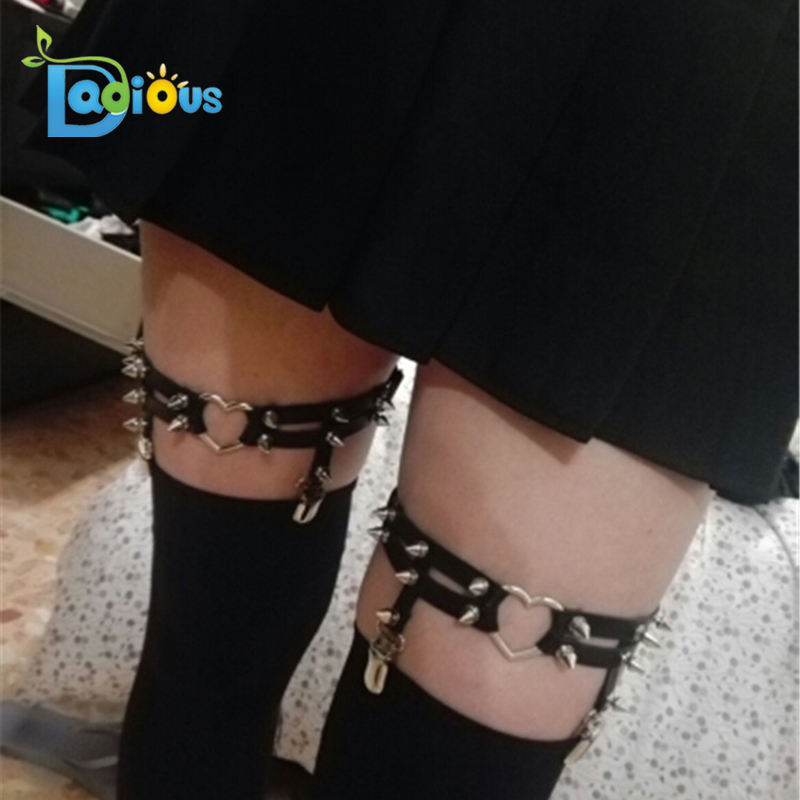 Sexy Women Leather Garter Adjustable Harness Punk Leg Garter Belt Clip for Party Cosplay