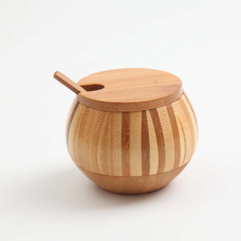 Kitchen spice container bamboo spice jar seasoning can wood sugar bowl