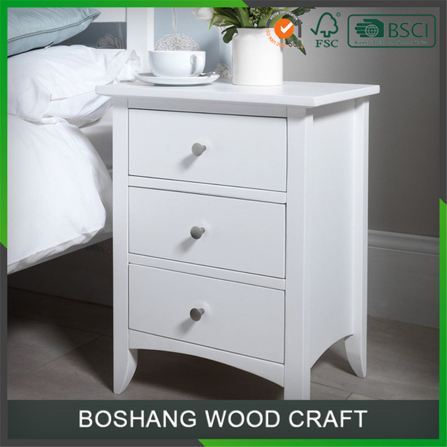Mytest Chinese White Lacquer Nightstand Storage Cabinet