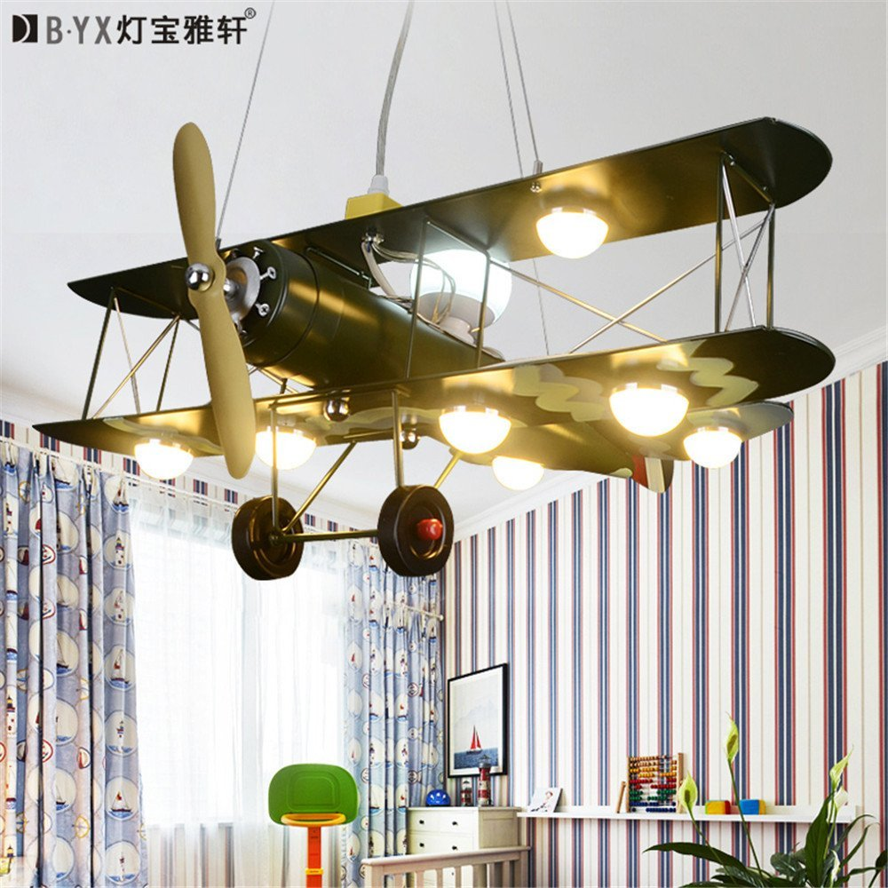 Leihongthebox Ceiling Lights lamp Retro aircraft chandelier lamp boy children Ceiling lamp led chandeliers for Hall, Study Room, Office, Bedroom, Living Room,700800mm