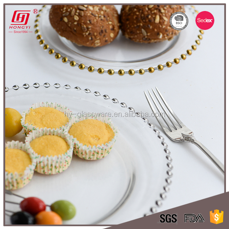 Wholesale Wedding Silver Glass Beaded Gold wedding Charger Plates