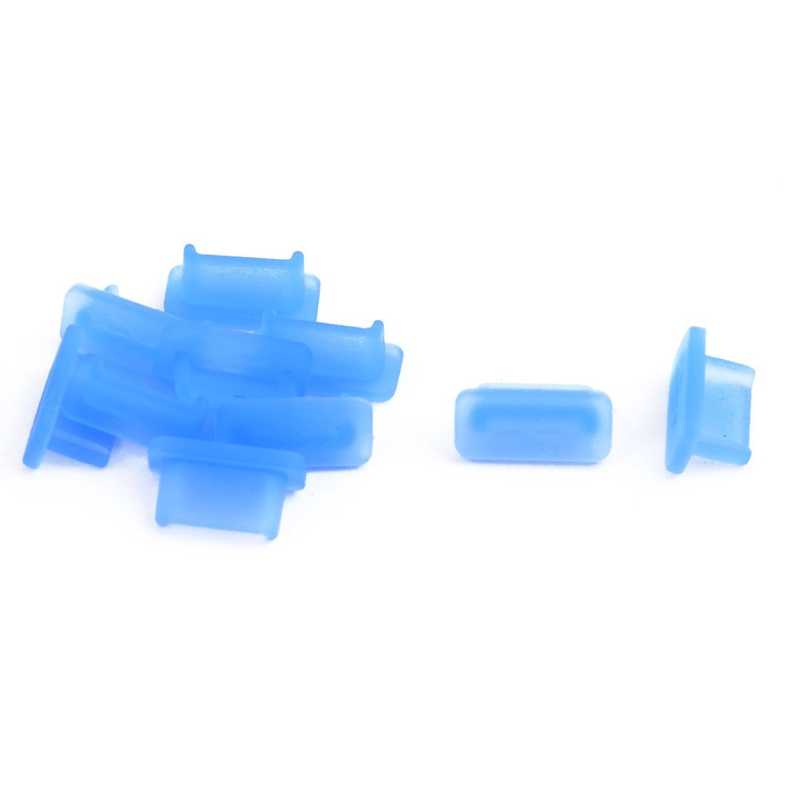 uxcell PC Phone Silicone Female USB Port Cover Cap Anti Dust Protector Blue 20 PCS