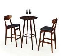 High end solid wood bar table and stools chair set for pub/nightclub/restaurant(FOH-BCA69)