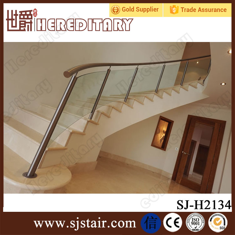Glass Staircase Balustrade Kit: Indoor Stainless Steel Glass Balustrade Design For Curved