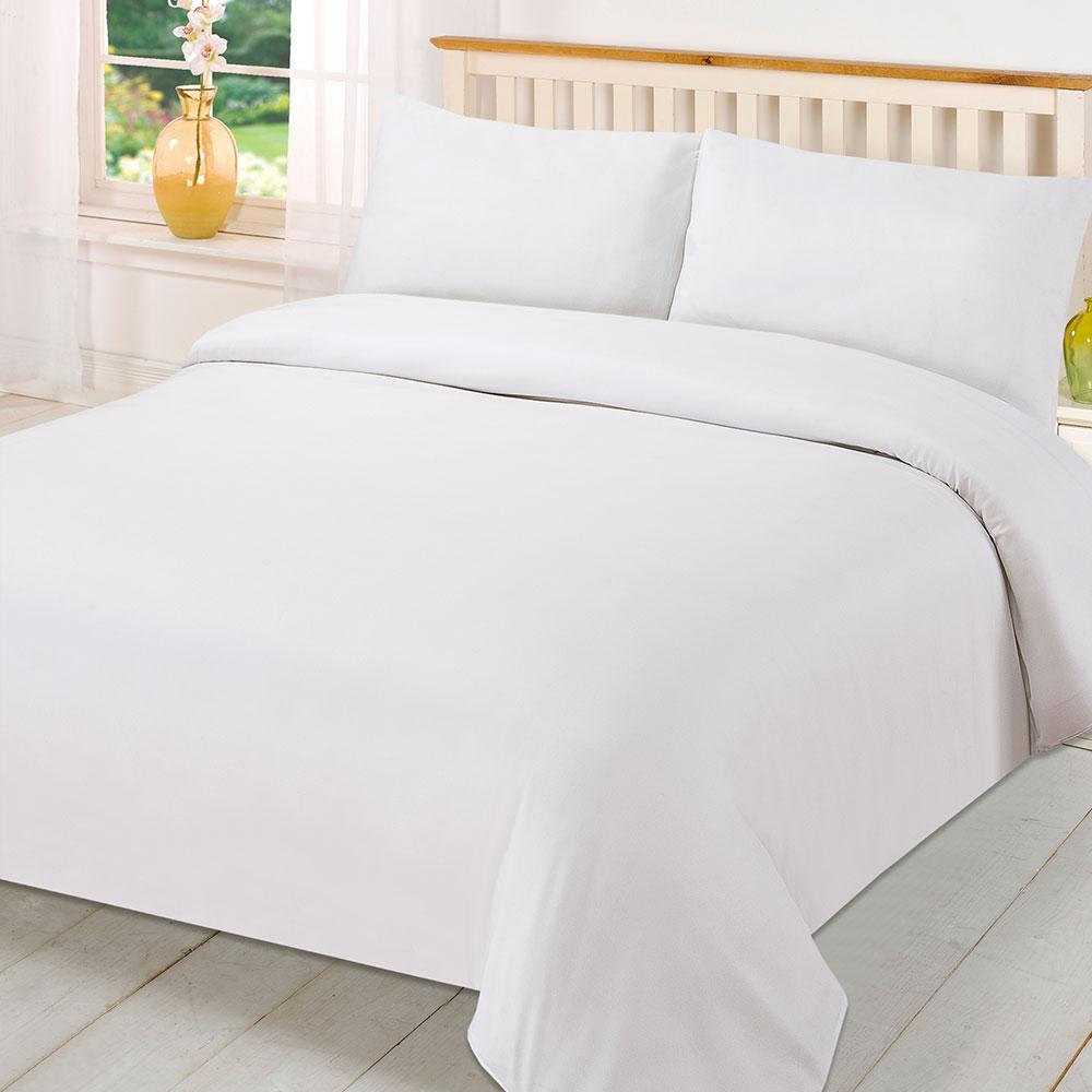 300tc 100 Cotton Hotels Plain White Duvet Cover Flat Bed Sheet Set