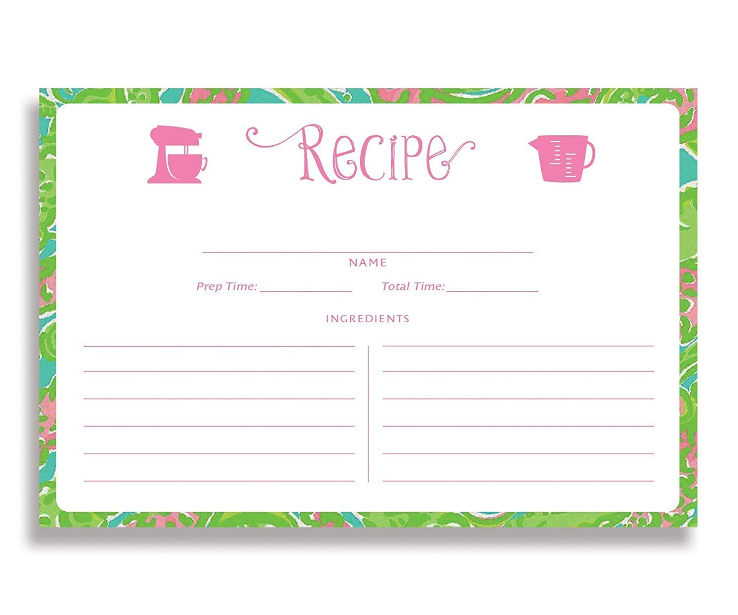 Floral and Black Stripe Recipe Cards Set of 25 4x6 inches Katelyn Black Double Sided Card Stock Recipe Card Set