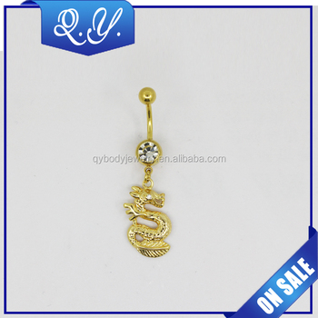 2016 Fashion Design Dragon Shape Animal Crystal Hanging Navel Piercing Jewelry Gold Plated Dangle Belly Button Ring Buy Animal Dangle Navel