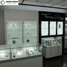 Special design luxury modern style wooden glass jewellery shop showcase