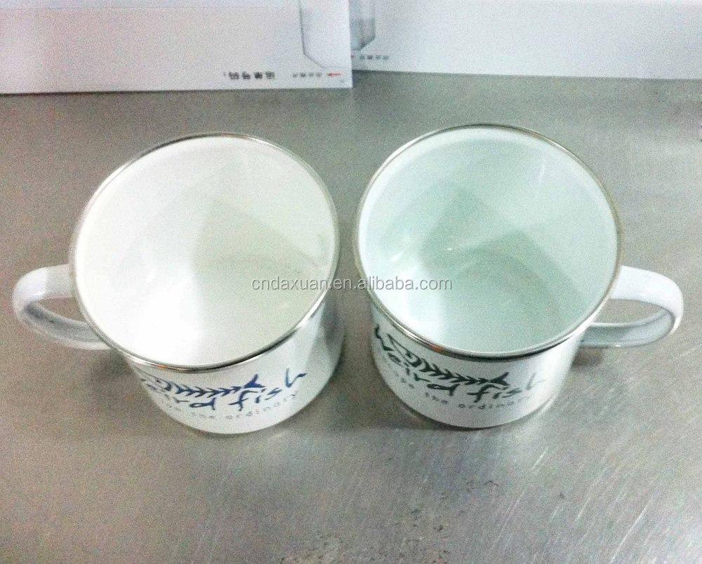 coffee enamel mug with handle stainless steel rim enamel travel
