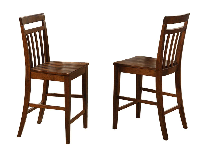 East West Furniture EWS-Oak-W Stool Set with Wood Seat, Dark Oak Finish, Set of 2
