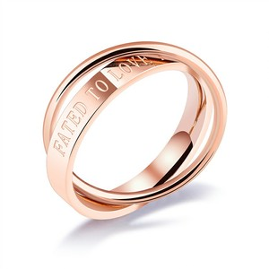 Marlary Factory Price Simple Custom Rose Gole Engraved Ring Stainless Steel Double Finger Ring
