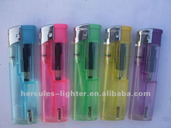 Cheap plastic electronic lighter with transparent colour, silver flame guard, disposable