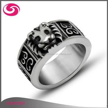 3d64074fe44a Último anillo de diseño para hombres Retro León grabado hombres anillo de  plata