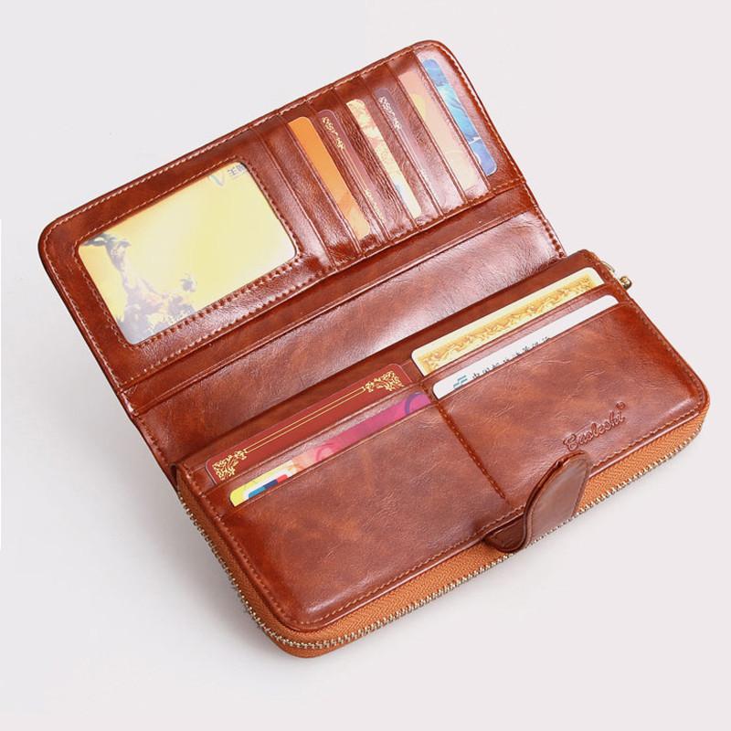 100% oil waxing cowhide wallet for women Long designer ...