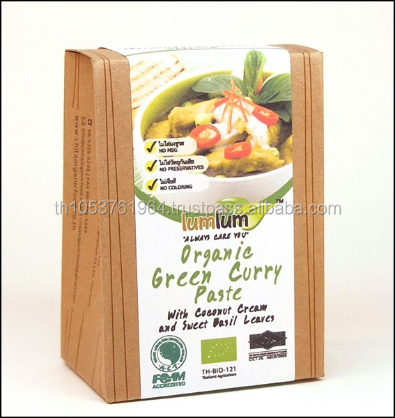 Certified Organic Thai Green Curry Paste+Coconut Cream, Holy Basil Leave(100g) - All Time Favorite Thai Curry for all Meats