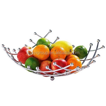 Chrome Fruit Bowl Nest Holder Basket Table Top Stylish Quality Strong Wire