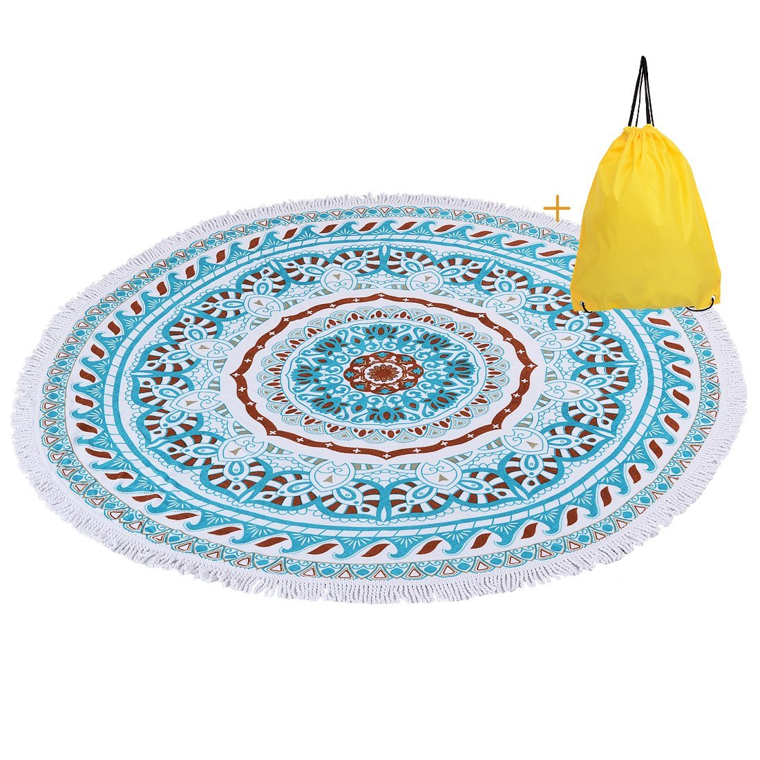 Ange-la Round Beach Towel with Tassel Fringe -100% Cotton Indian Mandala Round Roundie Beach Throw Tapestry, Yoga Mat, Table Cloth, Wall Hanging 60 inches Diameter Sea Green w/ a Waterproof Beach Bag