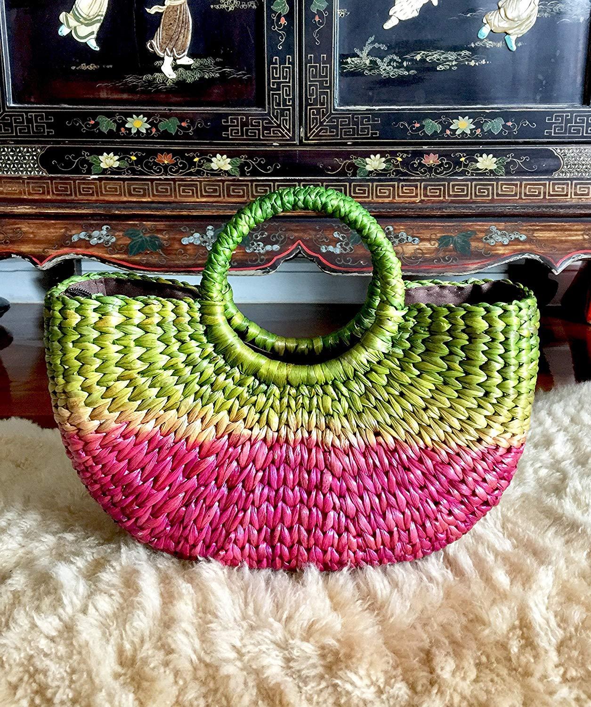 0bb832e436ee2c Get Quotations · Ahava Green   Pink Straw Basket Bag