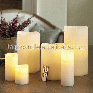 Flickering Flame LED Wax Candles Light Rustic Pillar Candle Set