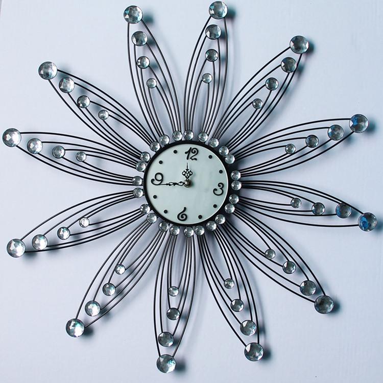free shipping Fashion iron rhinestone wall clock personalized clock art watch fashion rustic living room clock  home decoration