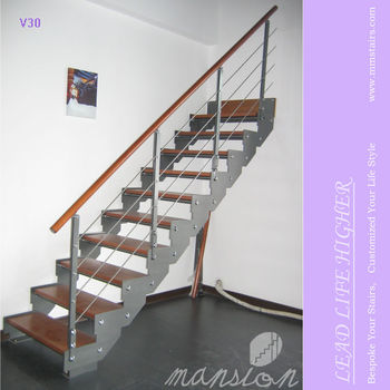 Simple Design Straight Steel Stringer Wooden Staircase