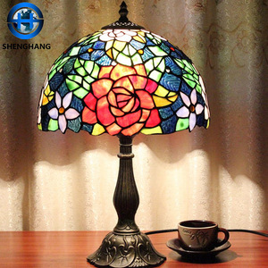 Flower pattern glass lamp shade western popular Tiffany style art deco lampsWholesale price