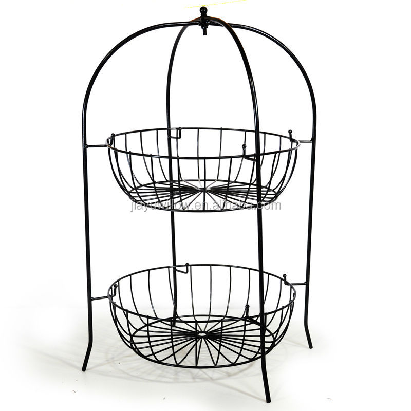 2 Tier Wire Fruit Basket Metal Stand
