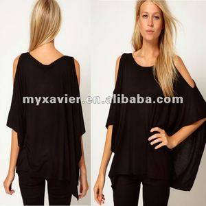 Lady Top with Oversize Open Shoulder ladies new blouses fashionable 2012