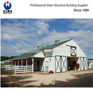 2018 new steel structure Prefabricated Barn Horse Stable poultry house