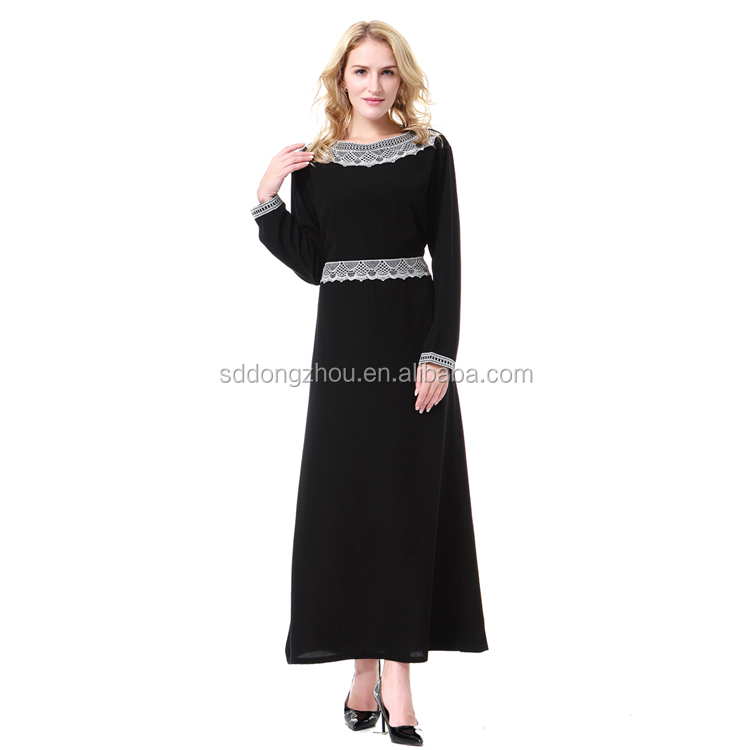 Dubai Muslim Women Elegant Long Sleeve Islamic Maxi Dress Embroidery