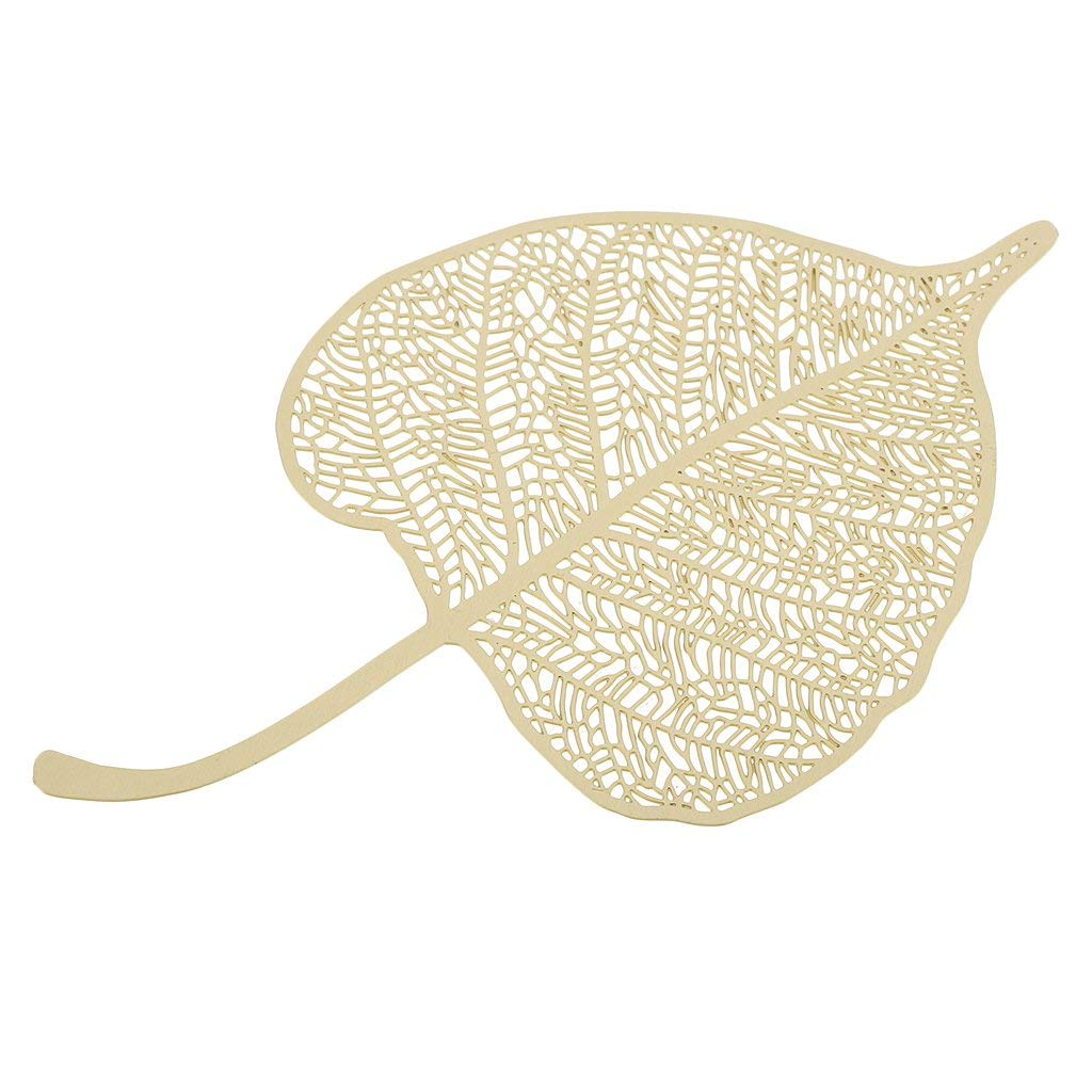 Baoblaze Creative Leaf Gold Plated Ultra Thin Metal Brass Bookmark Hollow Crafts Book Mark Gift Stationery Value Pack Chirstmas Gift 9 x 5.3 cm