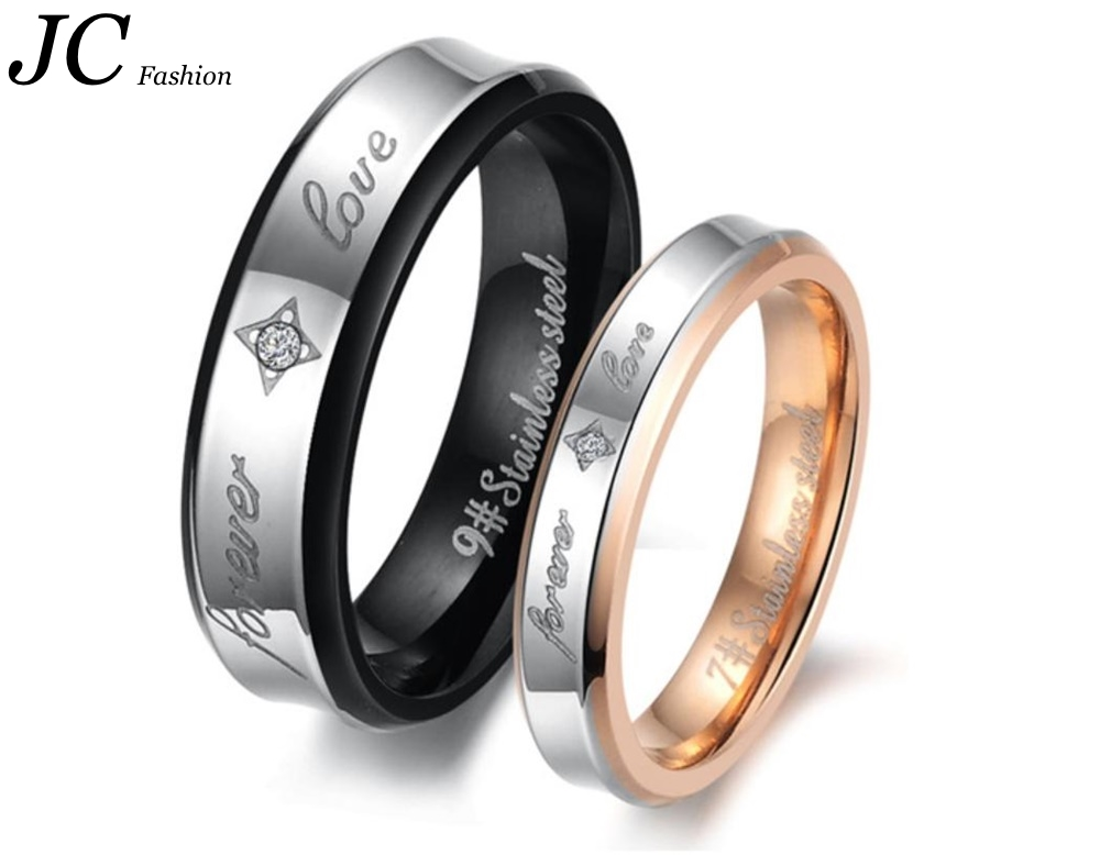 2017 latest fashion top design stylish engagement stainless steel love forever rings