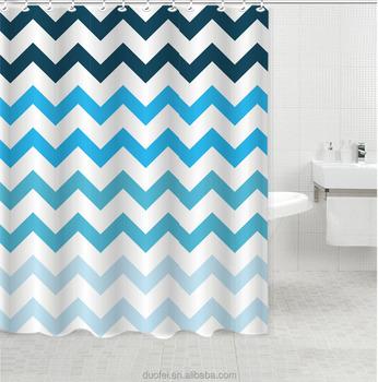 Ombre Flame Retardant Horizontal Stripes Wave Shower Curtain